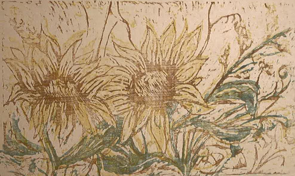 Sunflowers-woodblock